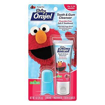 商品Baby Orajel Elmo Tooth And Gum Cleanser With Finger Brush, Fruity Fun, 1 Oz图片