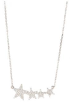 商品Sterling Silver Swarovski Crystal Accented Shooting Star Pendant Necklace图片