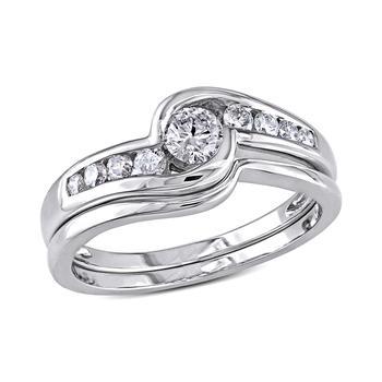 商品1/2 CT Diamond TW Bridal Set Ring 14k White Gold GH I2;I3 Size 9图片