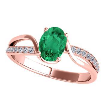 商品Maulijewels Ladies 10k Rose Gold 0.85 CT Oval Cut Green Emerald Split Shank Ring Size 6.5图片