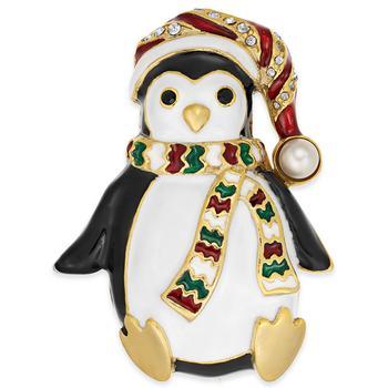 商品Gold-Tone Pavé & Imitation Pearl Penguin Pin, Created for Macy's图片