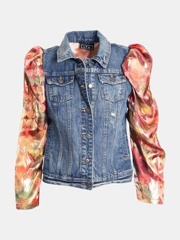 商品Puff Sleeves Upcycled Denim Jacket with Floral Orange Lame Sleeves图片