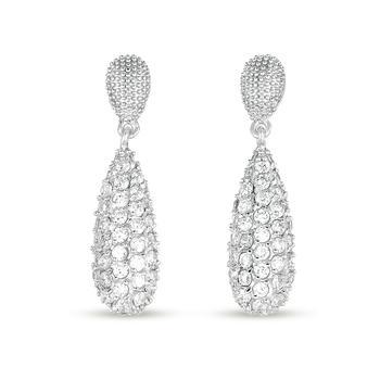 商品Megan Walford Sterling Silver Round Cubic Zirconia Two-Tier Earrings图片
