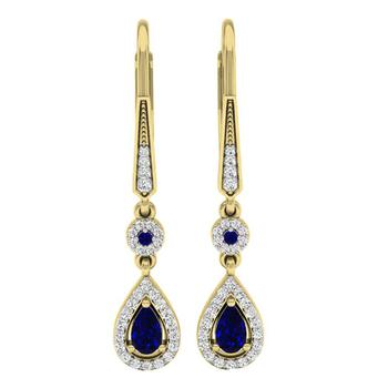 商品Dazzling Rock Dazzlingrock Collection 14K 5X3 MM Each Pear & Round Blue Sapphire & Diamond Ladies Halo Dangling Earrings, Yellow Gold图片