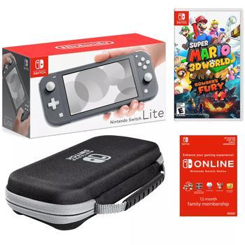 商品Nintendo Switch Lite Gray Bundle with Super Mario 3D World & Bowser's Fury Game, PowerA Case, and NSO 12 Month Family Membership图片