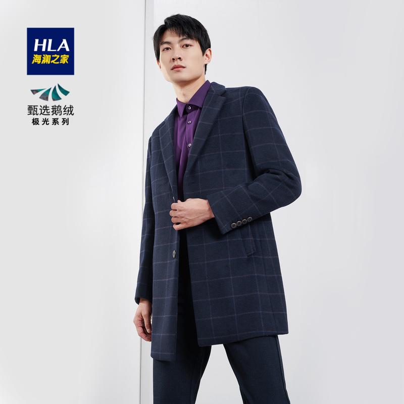 商品海澜之家奥莱款经典简约时尚格纹大衣舒适混纺有型温暖外套男图片