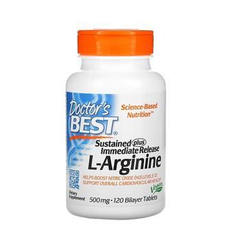 商品Doctors Best Sustained Plus Immediate Release L Arginine 500 mg Bilayer Tablets, 120 Ea图片