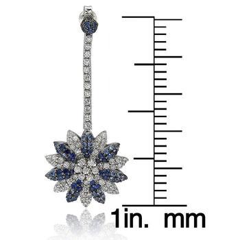 商品Suzy Levian Sapphire and Diamond in Sterling Silver and 18K Gold Earring图片