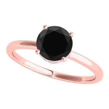 商品Maulijewels 18K Solid Rose Gold 1.06 Carat Natural Black & White Diamond Solitaire Engagement Ring For Women In Size 7.5图片