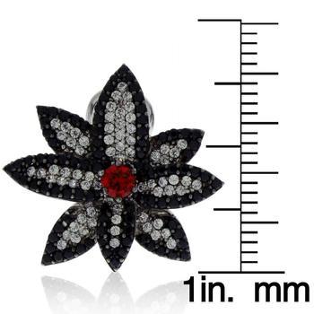 商品Suzy Levian Sterling Silver Created Ruby and Black and White Cubic Zirconia Floral Earrings图片