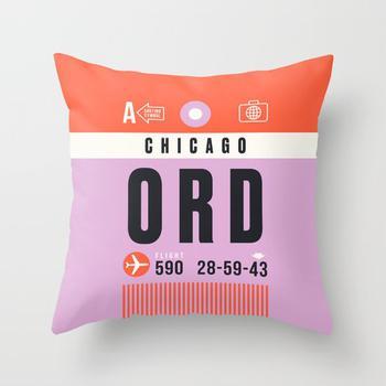 商品Luggage Tag A - ORD Chicago USA Throw Pillow图片