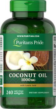 商品Coconut Oil 1000 mg 240 Rapid Release Softgels图片
