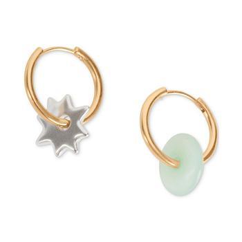 商品Two-Tone Star & Dyed Jade Mismatch Hoop Earrings图片