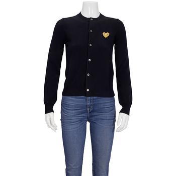 商品Comme Des Garcons Ladies Gold Heart Crewneck Cardigan In Navy, Brand Size X-Small图片