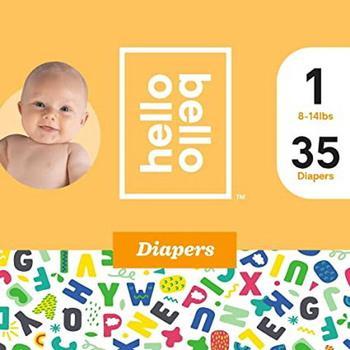 商品Hello Bello Diapers Jumbo Pack Size 1 Alphabet Soup , 35 Ea图片