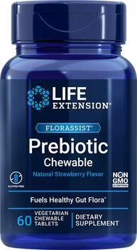 商品Life Extension FLORASSIST® Prebiotic Chewable, Strawberry (60 Chewable Tablets)图片