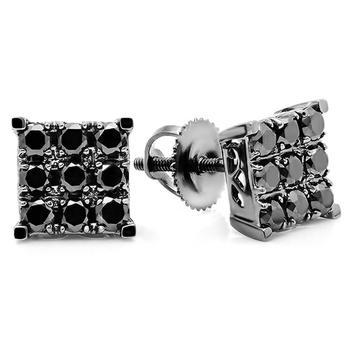 商品Dazzling Rock Dazzlingrock Collection 0.90 Carat (ctw) 18K Square Shaped Stud Earrings, White Gold图片