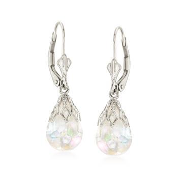 商品Ross-Simons Floating Opal Drop Earrings in 14kt White Gold图片