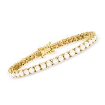商品Ross-Simons 4mm Cultured Pearl Tennis Bracelet in 18kt Gold Over Sterling图片