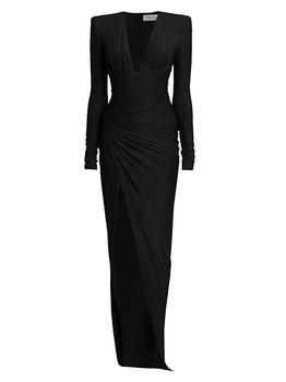 商品Padded Shoulder Long Sleeve Dress图片