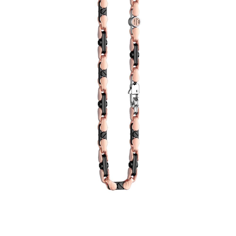 商品18K rose gold and black ceramic necklace.图片