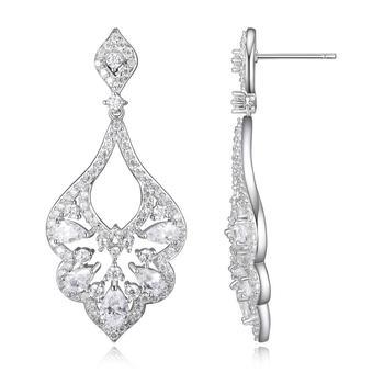 商品Morgan & Paige Rhodium Platred Sterling Silver Pear & Round Diamondlite CZ Chandelier Earrings图片