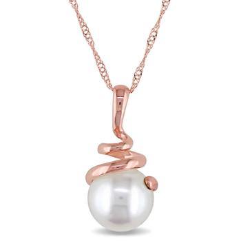 商品14k Rose Gold 8-8.5 mm Freshwater Cultured White Pearl Pendant w/ Chain图片