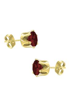 商品18K Yellow Vermeil Garnet 4mm Stud Earrings图片