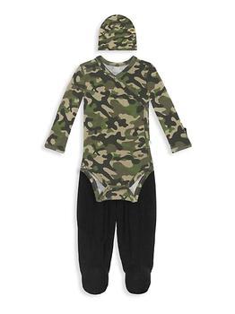 商品Baby Boy's 3-Piece Cadet Kimono, Footie Pants & Beanie Set图片