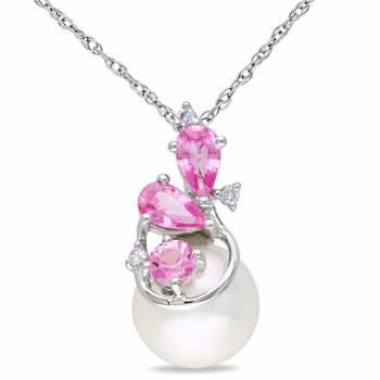 商品Amour 10k White Gold 8.5-9 mm Freshwater Cultured White Pearl and 0.03 CT TDW Diamond with 5/8 CT TGW Pink Sapphire Pendant w/Chain JMS005709图片