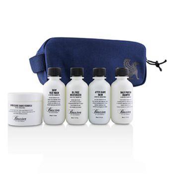 商品Baxter Of California - Travel Starter Kit: Face Wash + Shave Formula + Moisturizer + Shave Balm + Shampoo + Bag 5pcs + 1 Bag图片