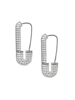 商品Renew Sterling Silver & Cubic Zirconia Safety Pin Earrings图片