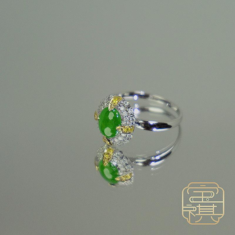 商品[宝祺]翡翠高冰阳绿蛋面四金爪戒指BQFCJZ20210922002图片
