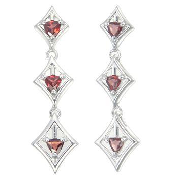 商品1.10 cttw Garnet Earrings in .925 Sterling Silver with Rhodium Triangle Shape图片