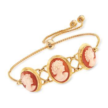 商品Ross-Simons Italian Orange Shell Cameo Bolo Bracelet in 18kt Gold Over Sterling图片