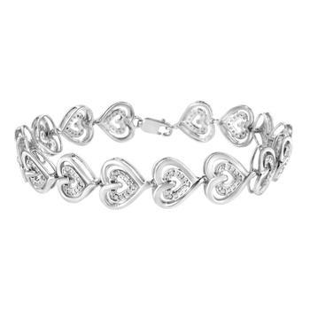 商品Haus of Brilliance .925 Sterling Silver 1/4 Cttw Round-Cut Diamond Double Heart Link Bracelet (I-J Color, I2-I3 Clarity) - 7.25'' Inches图片