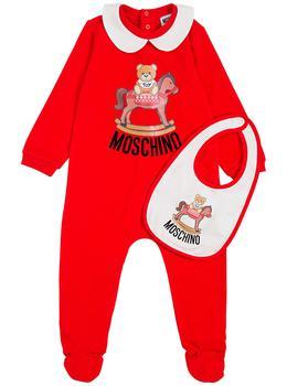 商品Moschino Red Cotton Romper And Bib Set With Teddy Bear Print图片