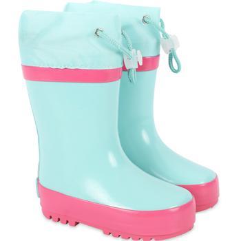 商品Drawstring rain boots in light blue and pink图片