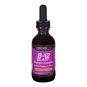 商品Bricker Labs B-12 Blast Methylcobalamin Vitamins, Natural Raspberry, 2 Oz图片