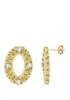 商品Textured Hoop Drop Earrings in 10k Yellow Gold with White Gold Accents图片