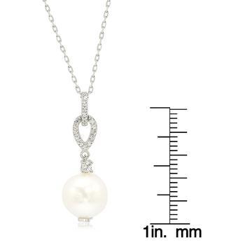 商品Suzy Levian Sterling Silver Pearl & White Sapphire Dangle Pendant图片