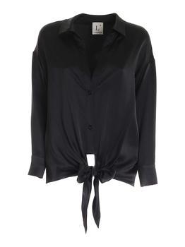 商品L'Autre Chose Tie Waist Button Up Shirt - IT42 / Black图片