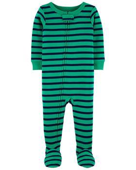 商品1-Piece Striped Snug Fit Cotton Footie PJs图片