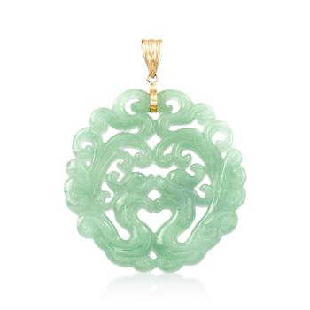 商品Ross-Simons Carved Jade Phoenix Pendant With 14kt Yellow Gold图片