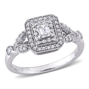 商品Amour 10k White Gold 1/2 CT TW Emerald and Round Shaped Diamond Vintage Double Halo Ring图片