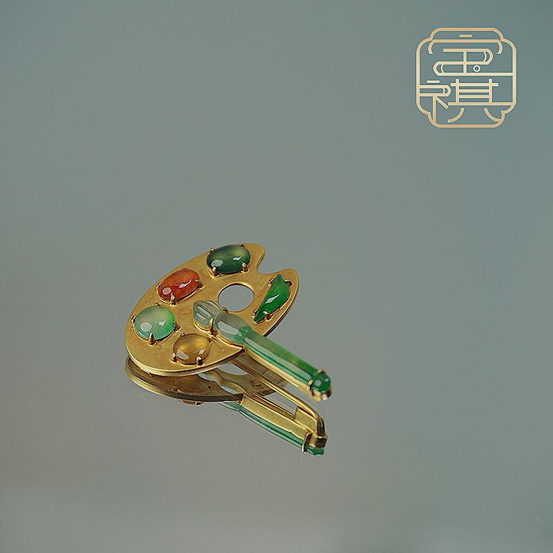商品[宝祺]翡翠五彩调色盘胸针 BQFCXZ20210929001 图片