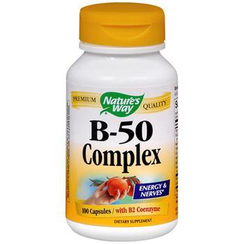 商品Nature'S Way Vitamin B-50 Complex Capsules For Energy And Nerves With B2 Coenzym - 100 Ea图片