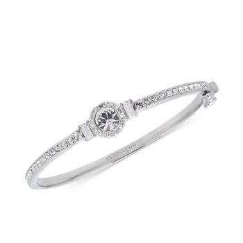 商品纪梵希水晶手镯 Givenchy Silver-Tone Round Crystal and Pavé Hinged Bangle Bracelet图片