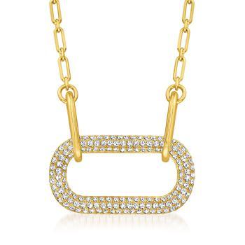 商品Ross-Simons CZ Paper Clip Link Necklace in 18kt Gold Over Sterling图片