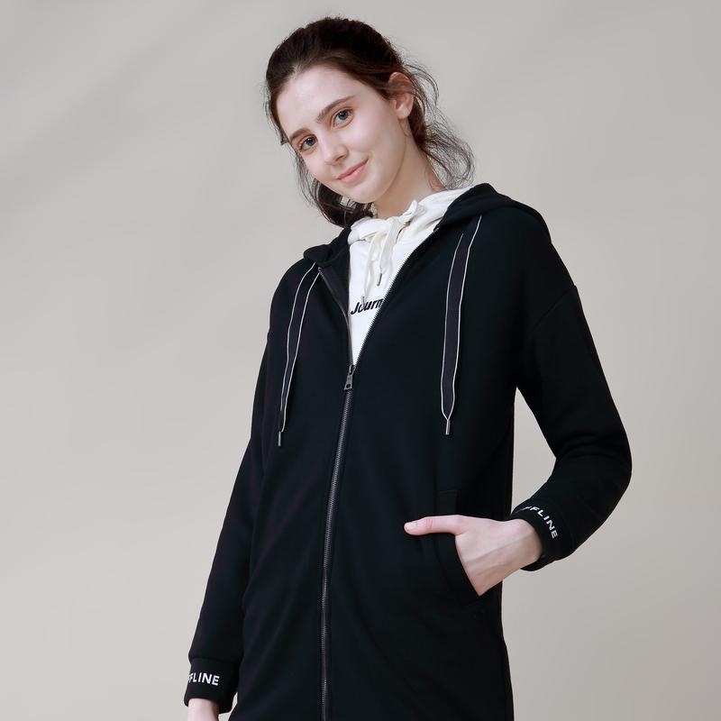 商品堡狮龙女装中长款连帽内加绒卫衣长袖外套|包邮【国内直发】图片